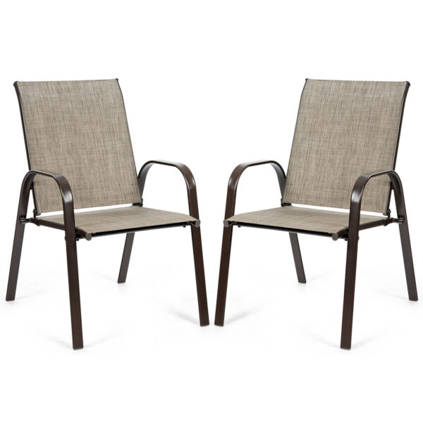 2 PCS Patio Chairs Outdoor Dining Chair Heavy Duty Steel Frame w Armrest $99.95