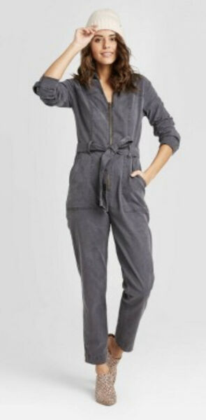 ** NWT Women's Long Sleeve V neck Cropped Boiler Suit Grey Sz2** $20.00