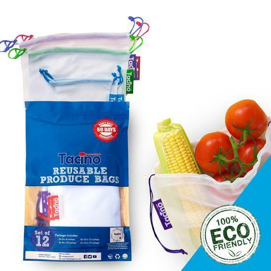 Set of 12 Reusable Mesh Produce Bags for Vegetable Grocery Shopping Machine Was