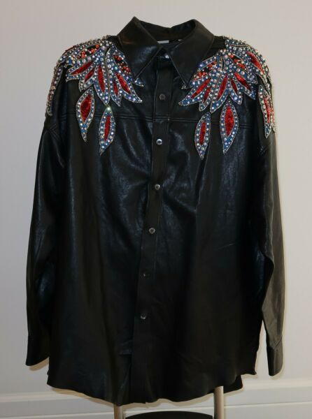 Authentic Gucci Womens Leather Embellished Sequins Oversized Runway Shirt Jacket