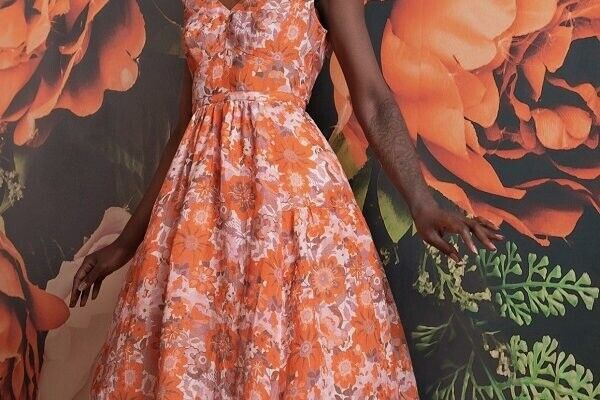 NWT TRACY REESE for ANTHROPOLOGIE Orange Floral Linen Fit amp; Flare Dress Sz. 14 $129.99