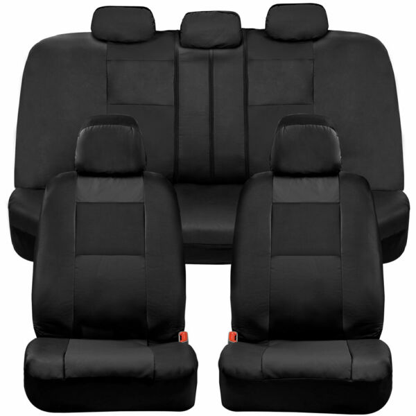 BDK Two Tone Full Set PU Leather Front amp; Rear Car Seat Covers Black $34.90