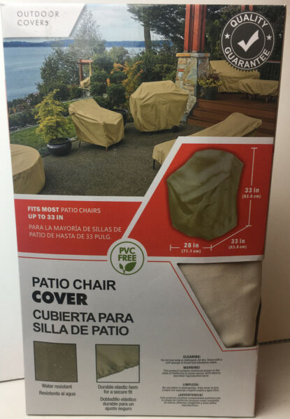 Outdoor Covers Patio Chair Cover Beige PVC Free Water Resistant Elastic Hem $21.21