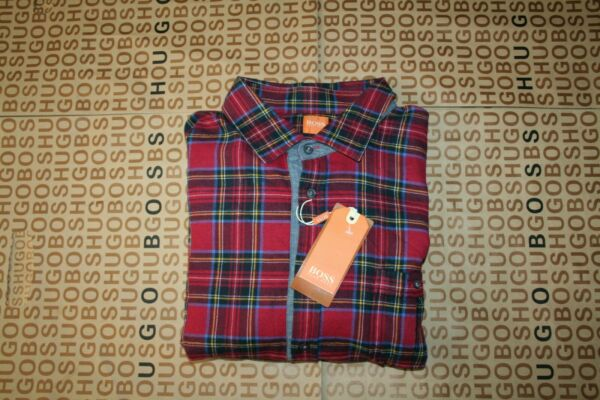 New Hugo Boss mens designer red check slim fit fitted jeans shirt XXXL 48