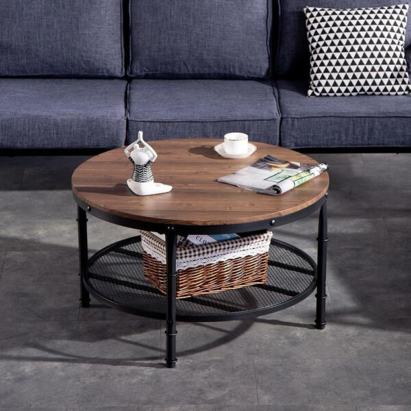 Top Modern Round Accent Side Coffee Table w Metal Base Living Room Metal NEW