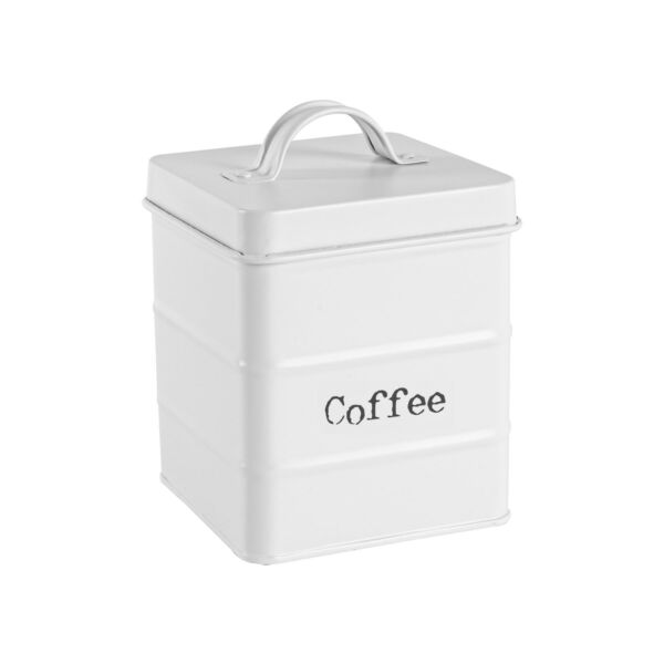 Vintage Coffee Storage Canister Metal Square Jar Airtight Seal Matte White