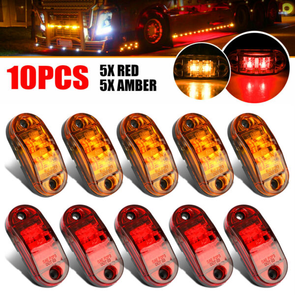 5x Amber 5x Red LED Car Truck Trailer RV Oval 2.5quot; Side Clearance Marker Lights $15.48