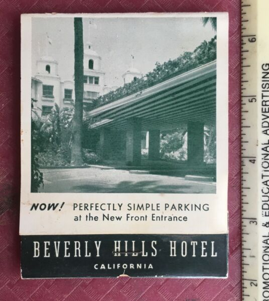 Vintage Beverly Hills Hotel Match Book Los Angeles California
