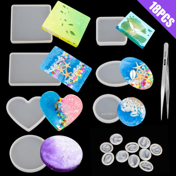 Silicone Resin Molds Epoxy Casting Art Coaster Ashtray Bowl Mat DIY Craft Tool