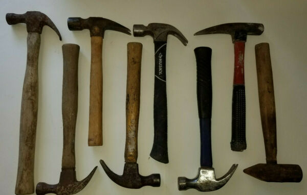 Lot of 8 Old Mixed Hammers Straight Claw Hammers