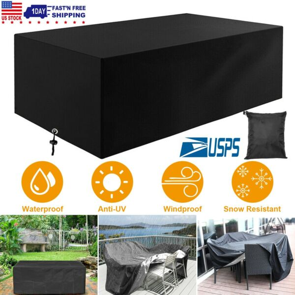 Waterproof Patio Furniture Covers Outdoor Rectangle Table Rain Cover Dustproof