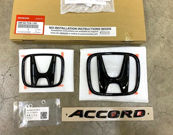 Genuine OEM Honda 2018 2021 Accord Gloss Black Logo Emblem Set 08F20 TVA 100