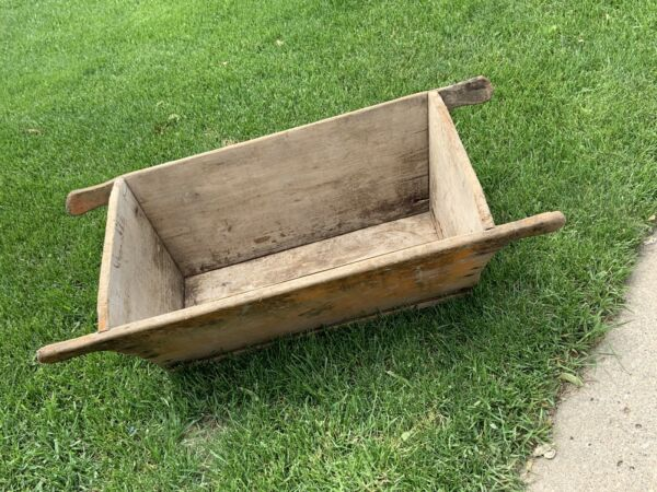 VINTAGE WOOD Box Crate Portable Crib Meat Mix Manger Feed Box Early