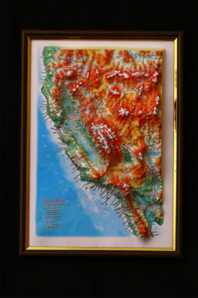 California Map 3D Raised Relief Framed Map Amazing Decorative Bird#x27;s Eye View $39.95