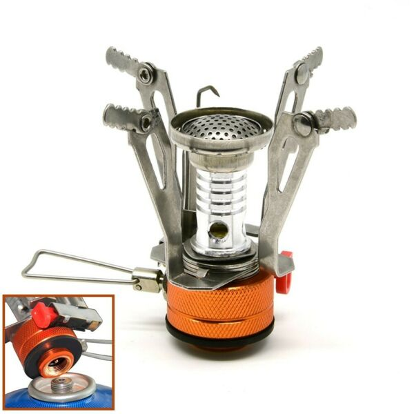 Portable Outdoor Mini Stove Gas Burner Camping Picnic Foldable w Piezo Ignition