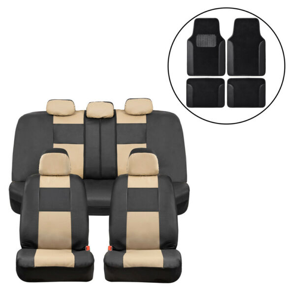 Car Seat Covers Beige PU Leather Front Back Set with Black Carpet Floor Mats