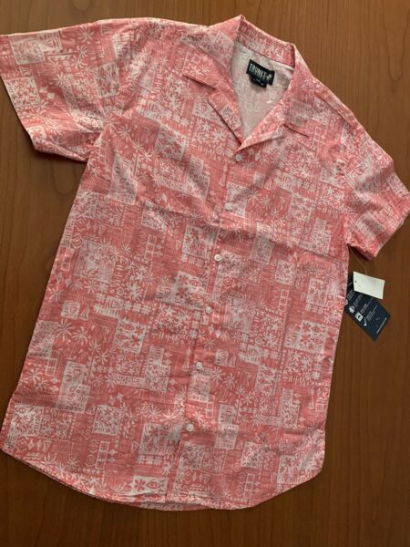 $68 TRUNKS SURF amp; SWIM CO. MEN#x27;S POST CARD TRIBAL TOMMY SHIRT S S CORAL Sz S NWT $23.96