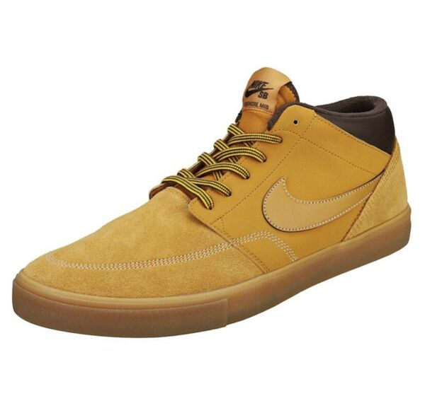 Nike SB Portmore II Solarsoft Mid-Top Sneaker  AJ6978-779 Wheat Brown Men Size 9