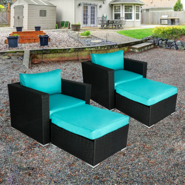 2 PC Patio Sectional Sofa Lounge Chair PE Rattan Ottoman Couch Outdoor Furniture