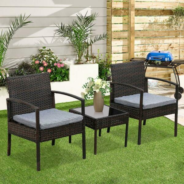 3PCS Wicker Rattan Patio Furniture Set Sofa Cushion Coffee Table Garden Outdoor
