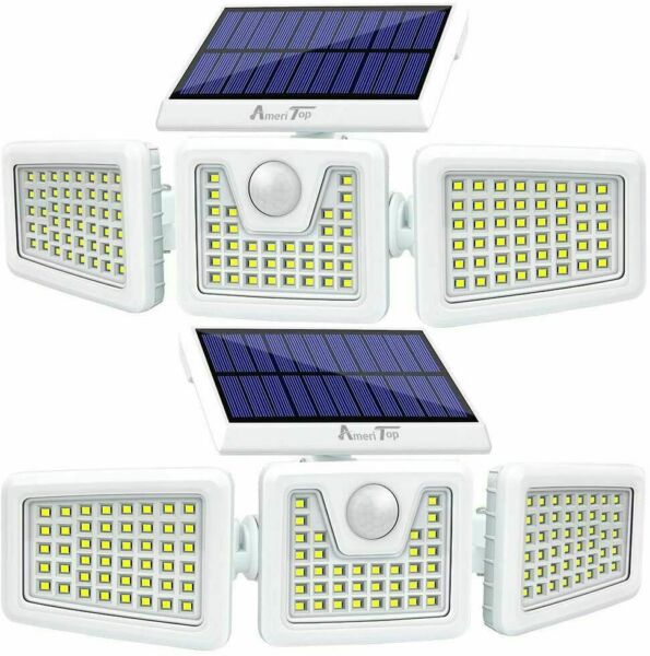 2Pcs Solar Lights OutdoorLED Waterproof Motion Sensor Lights 3 Adjustable Heads $43.99