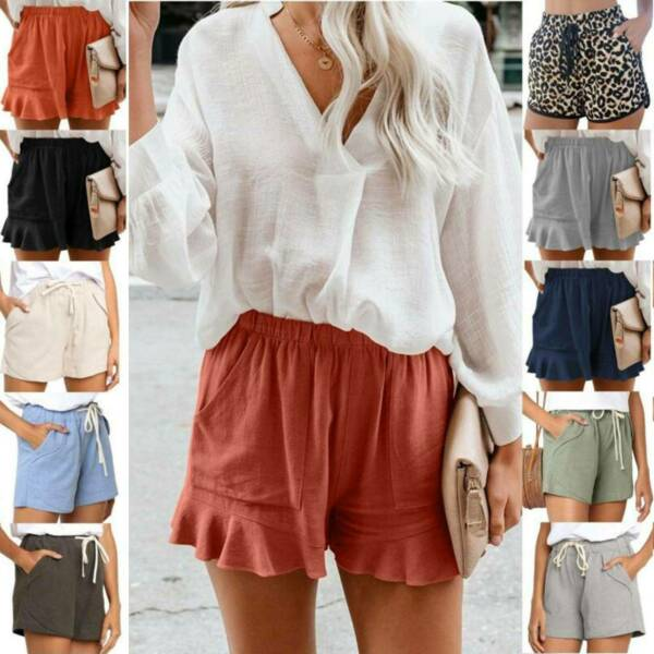 Women Elastic Waist Baggy Shorts Summer Casual Short Loose Fit Mini Hot Pants $11.58