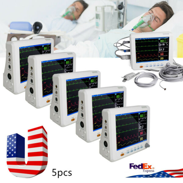 5pcs ICU CCU 8inch  Vital Signs Patient Monitor 6-parameter ICU Cardiac Machine