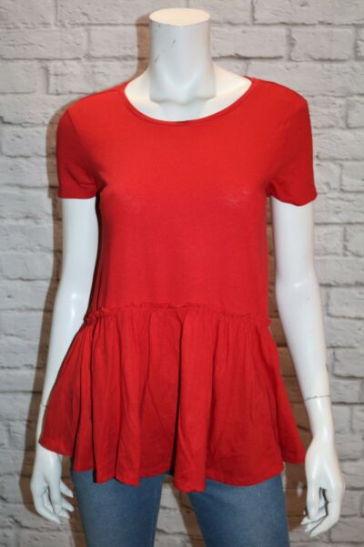 clothing amp; Co Brand Red Short Sleeve Long Peplum Top Size 6 BNWT #SA99
