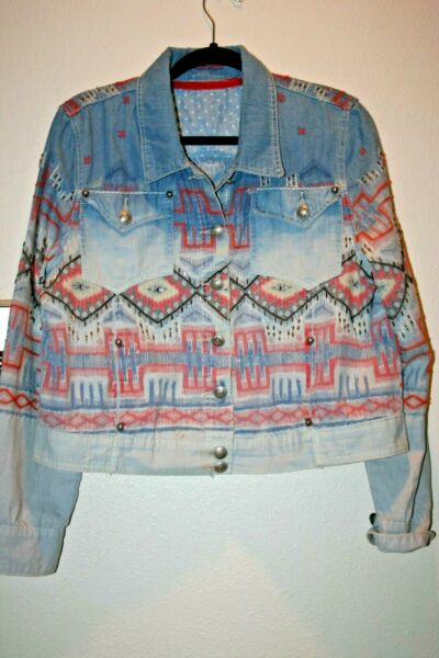 Super Cute Double D Ranch Embroidered Beaded Jean Chambray Jacket SZ XL GUC