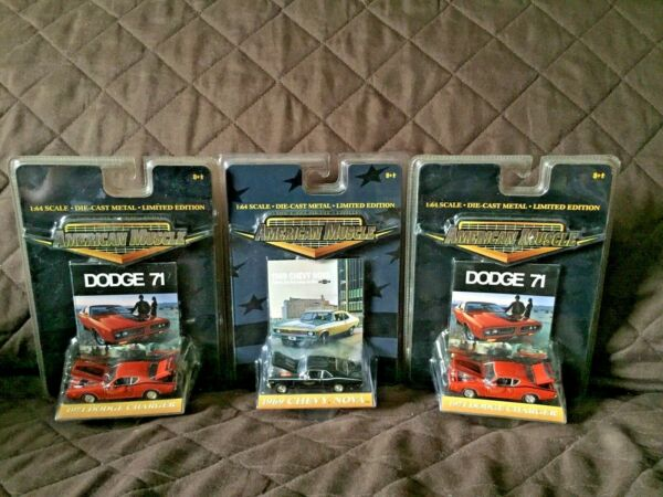 3 Car Set Limited Edition American Muscle 1969 Chevy Nova amp; 1971 Dodge Charger $35.00