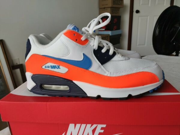 Nike Air Max 90 Essential White Blue Total Orange Size 10 BRAND NEW WITH BOX