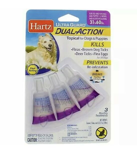 Hartz UltraGuard DualAction Flea amp; Tick Drops for Dogs amp; Puppies 31 60 lbs ... $7.20