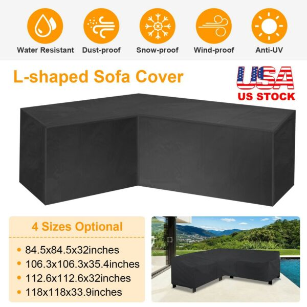 Black L Shape Sofa Cover Patio Outdoor Garden Furniture Waterproof Protector New $23.98