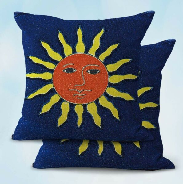 2PCS Mexican talavera Spanish sun face patio furniture cushion covers $19.91