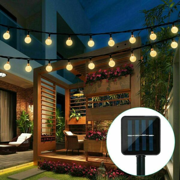20ft 30 LED Solar String Ball Lights Outdoor Garden Yard Decor Lamp Waterproof