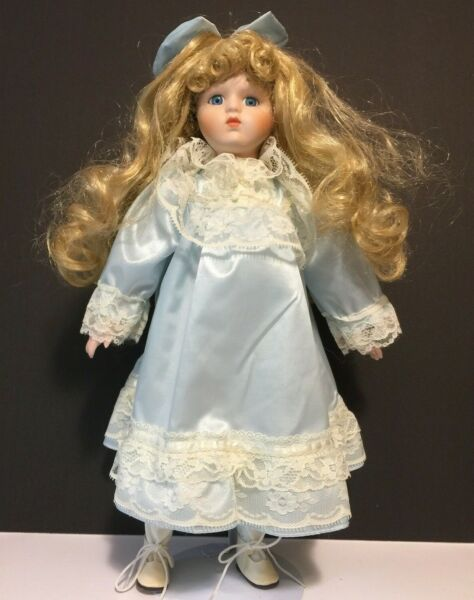 Porcelain Doll Long Blond Hair-Blue Eyes Vintage 16