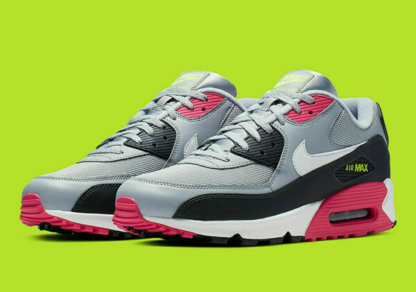 Nike Air Max 90 Essential Casual Shoes Wolf Gray Rush Pink AJ1285-020 Men's NEW
