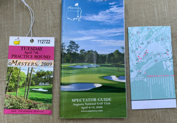 MASTERS AUGUSTA NATIONAL GOLF TOURNAMENT 2009 Badge Guide Map Angel Cabrera