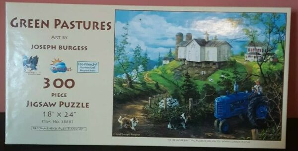 Sunsout Joseph Burgess Green Pasture 300 Piece Puzzle Dog Tractor Cow Farm $12.22