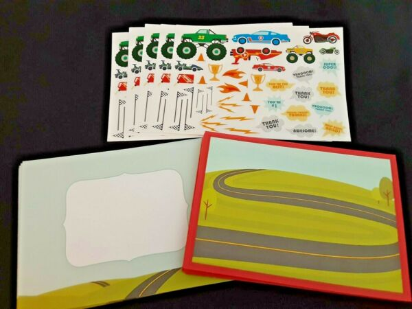 LOT 10 DIY TRUCK CAR TRACK BLANK THANK YOU CARDS ENV STICKERS...UNIQUE amp; CUTE $10.00