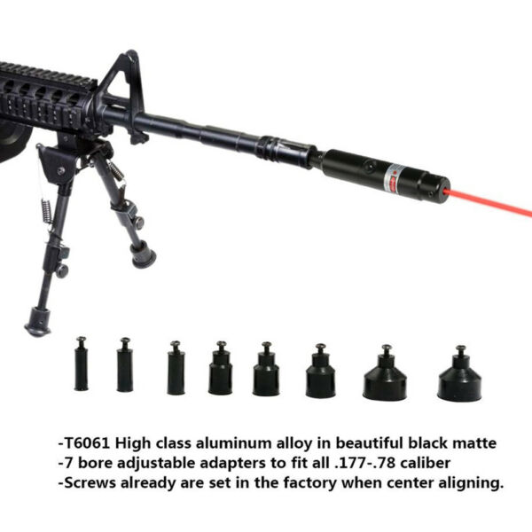 Red Laser Bore Sighter .177 to .50 Caliber Li ion Battery Boresighter US SHIPP