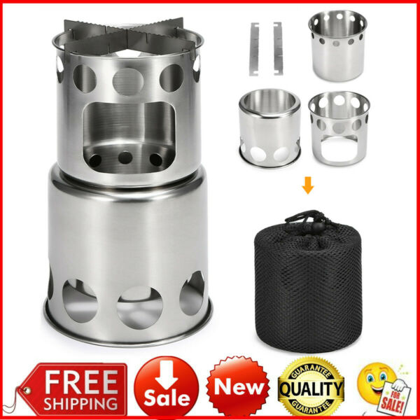 Outdoor Wood Stove Lightweight Folding Cooking Picnic Camping Backpacking U2Y8 $14.97