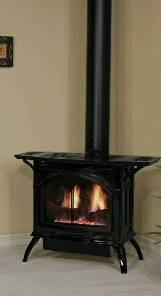 Empire White Mountain Direct Vent Cast Iron Stove IP Matte Pewter NG Medium