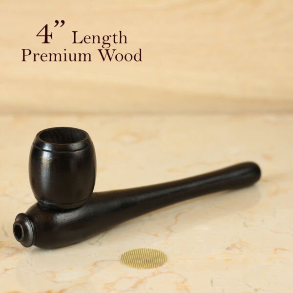 Esquisite Blk 4quot; Hand Crafted Smoking Pipe Tobacco Premium Wood Pipe Barrel pot $11.94