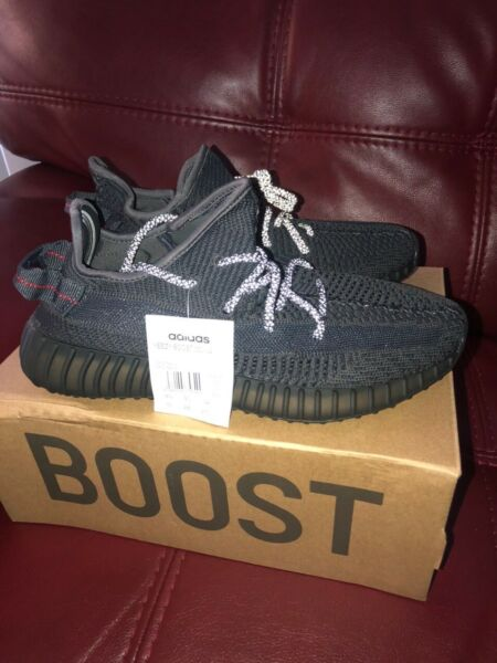 Authentic Brand new- Adidas Yeezy Boost 350 v2 Black Reflective - size 10