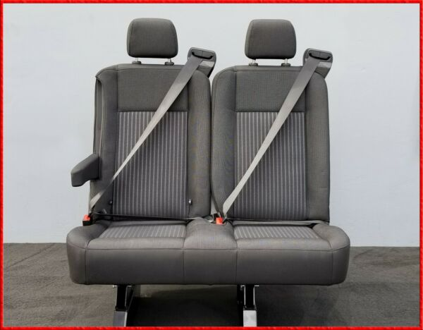 2 PASSENGER ( DOUBLE ) CHARCOAL CLOTH RECLINABLE BENCH SEAT W ARM UNIVERSAL FIT