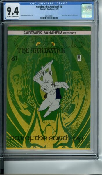 CEREBUS THE AARDVARK #8 CGC 9.4 LETTER & PIN-UP FROM FRED HEMBECK