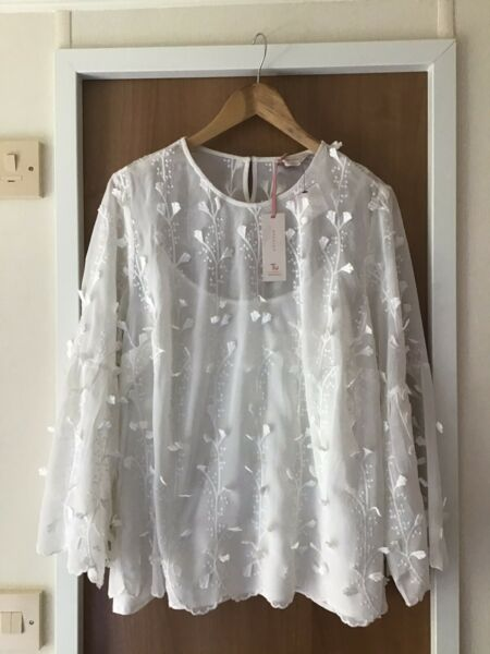 TU PREMIUM Off White Applique SMOCK Blouse SIZE 22 New With Tag