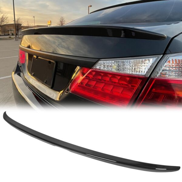 For 2013 2017 Honda Accord 4DR Sedan Painted Glossy Black Trunk Lid Spoiler Wing