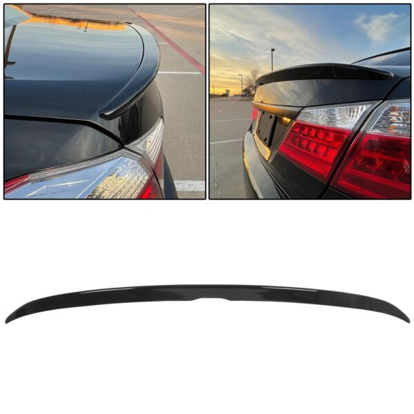 For 2013 2017 Honda Accord 4DR Sedan Glossy Black Sport Trunk Spoiler Lid Wing